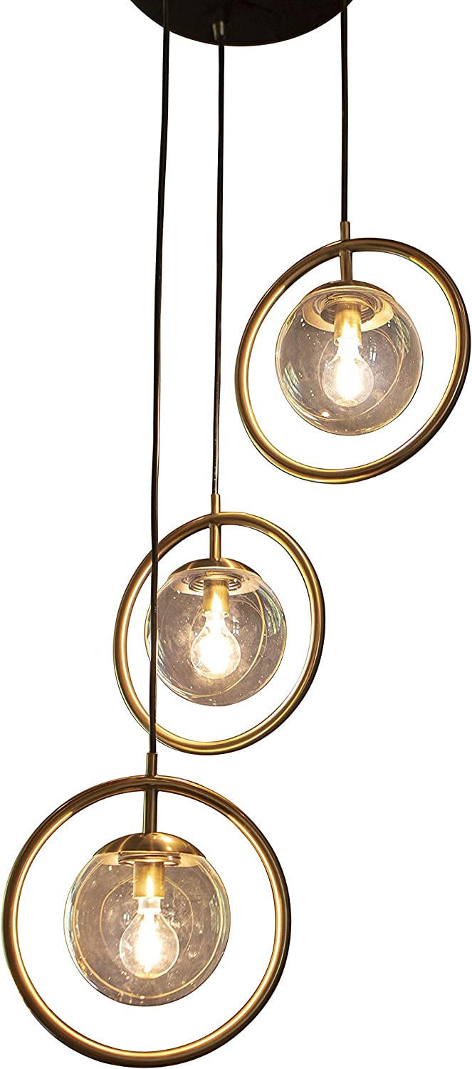 Decor Therapy CH1863 Pendant Light, Black Metal and Antique Brass