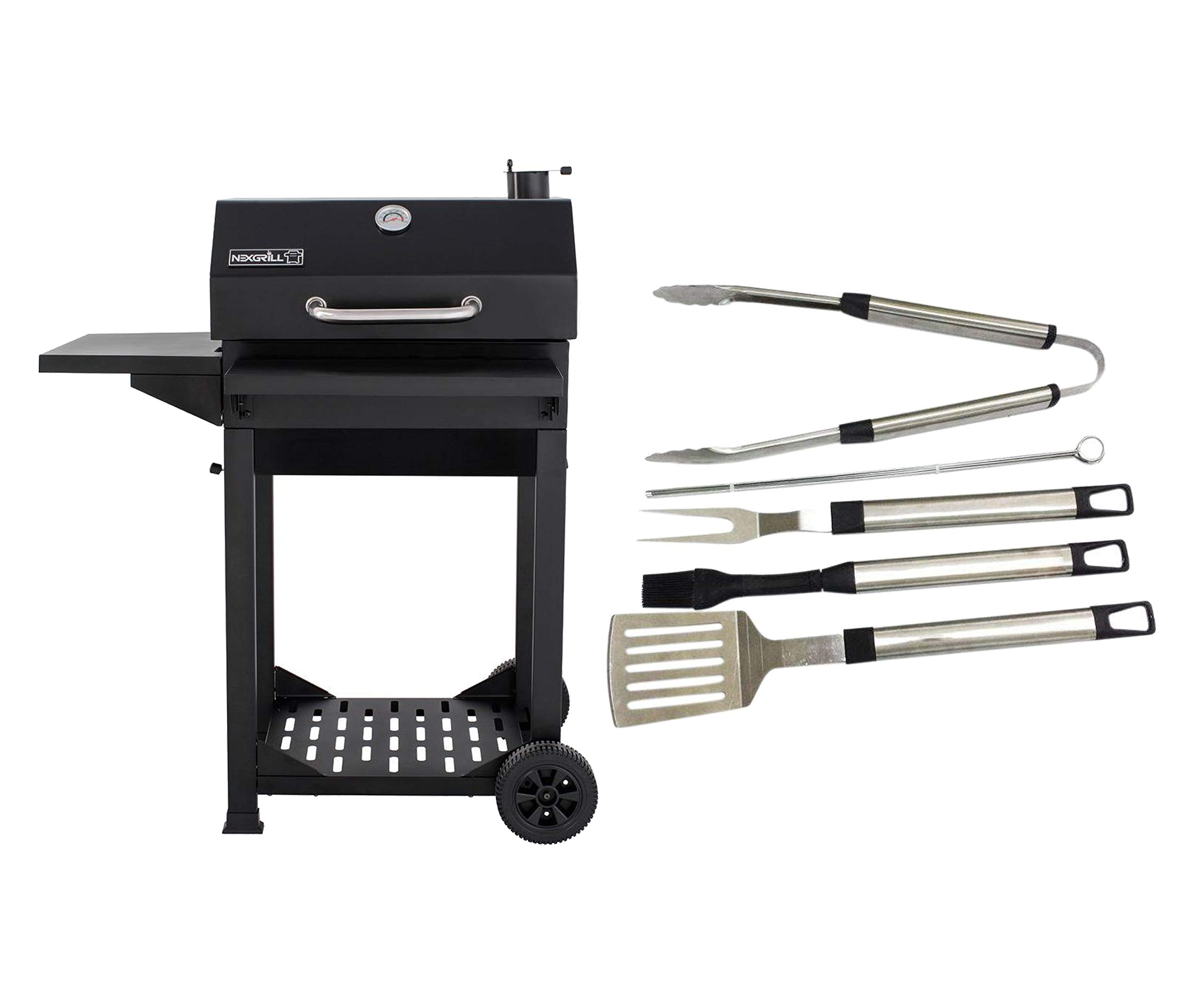 Nexgrill Cart-Style Charcoal Grill with Side Shelf and Foldable Front Shelf, Black Bundle with 8-Piece Grill Tool Set by Nexgrill