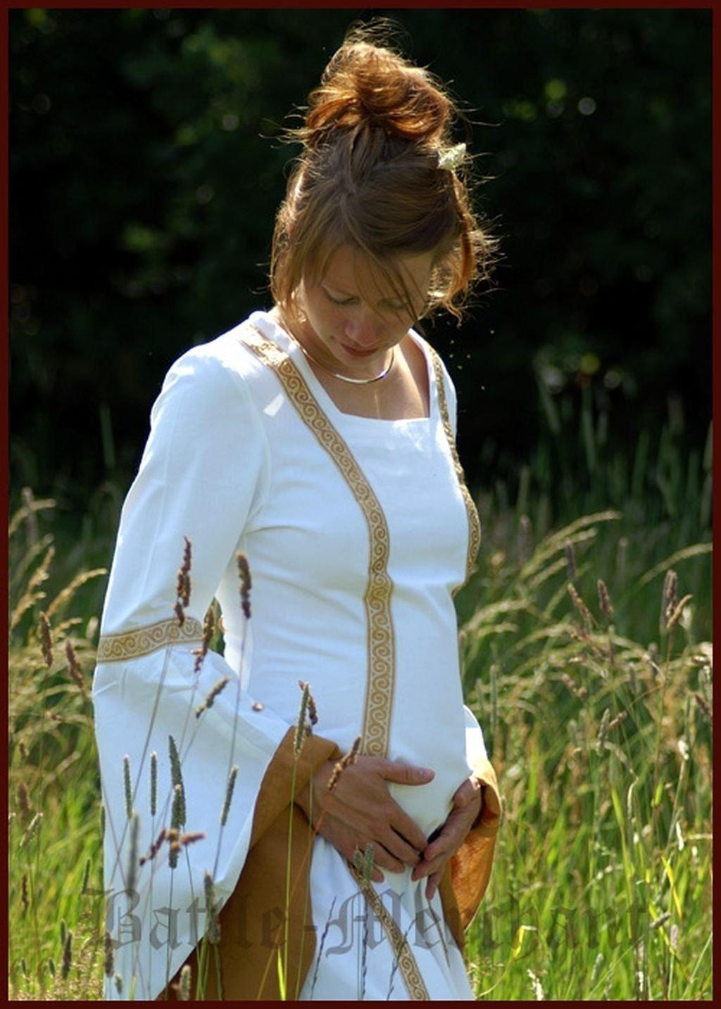 LARP Mittelalterliches Hochzeitskleid Sophia Farbe weiß/okker S-XL Kostüm Mittelalter Damen Kleid