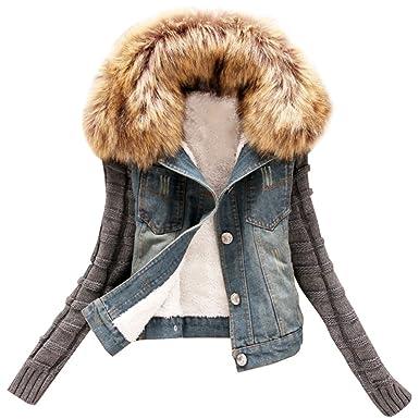 ZhuiKun Corto Chaquetas Mujer Jacket De Mezclilla Abrigo Denim Jackets de Invierno
