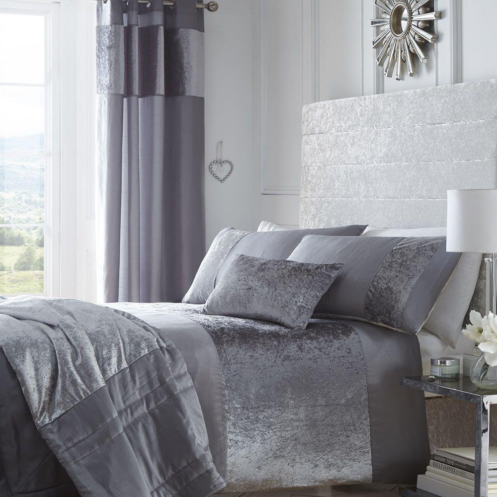 Boulevard Velvet Strip Quilt Duvet Cover and 2 Pillowcase Bedding Bed Set, Grey, Double Bedmaker 12397966