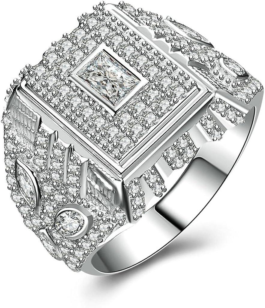 Bishilin Silver Plated Cubic Zirconia Inlaid Men Wedding Ring Silver Band Size BISHILIN5X6JRS174M12.5