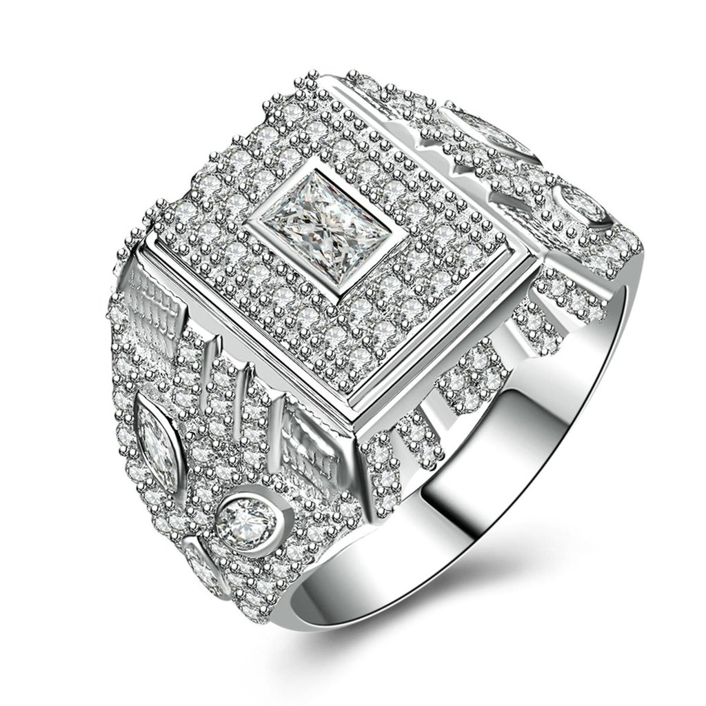 Bishilin Silver Plated Cubic Zirconia Inlaid Men Wedding Ring Silver Band Size BISHILIN5X6JRS174M7.5