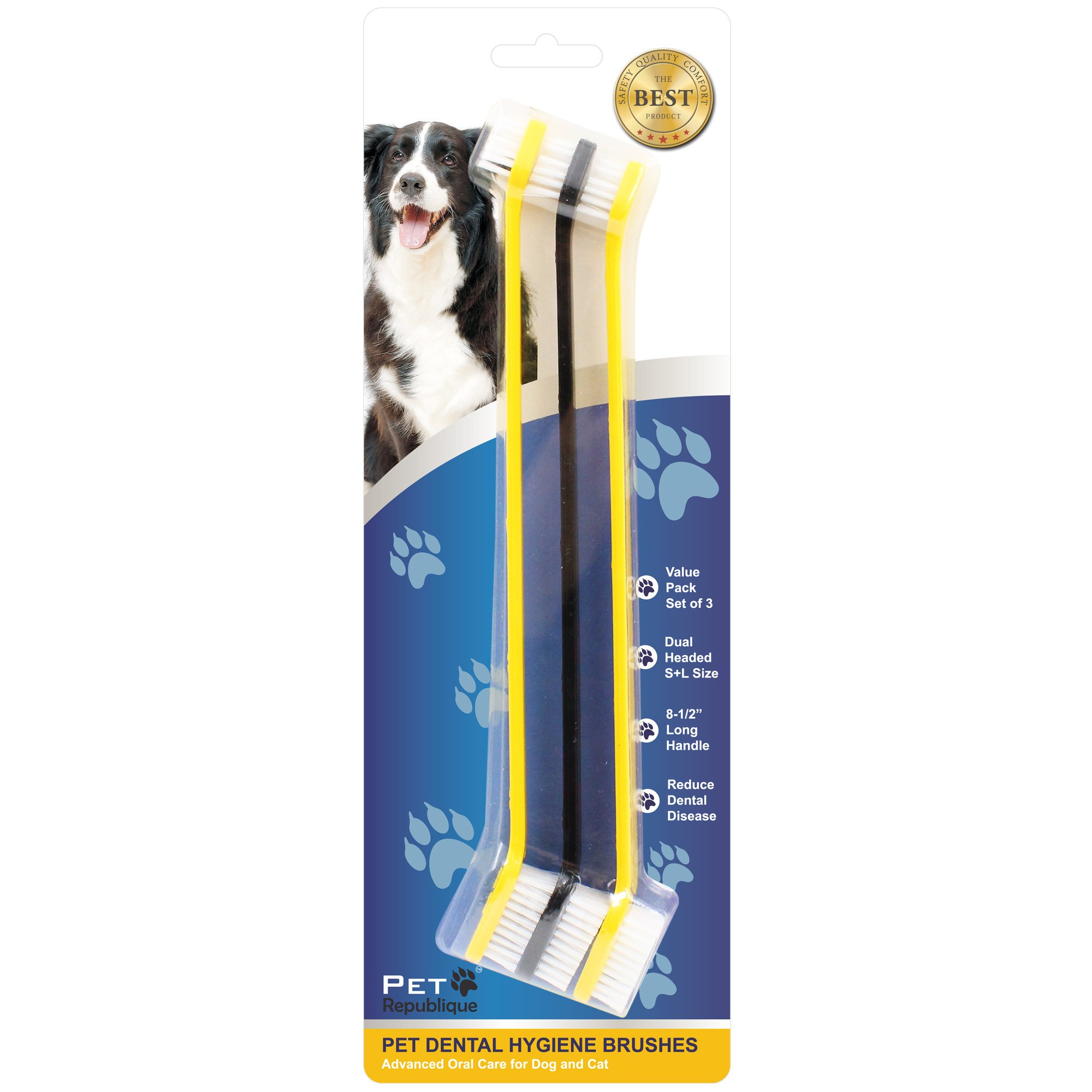 Pet Republique Dog Toothbrush Set of 3 - Dual Headed Dental Hygiene Brushes for Small to Large Dogs, Cats by Pet Republique