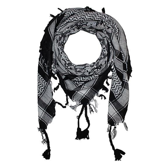 924c3d1e610 Freak Scene® Foulard palestinien keffieh en coton - motifs tête de mort n°1  - 100 x 100 cm - blanc motif noir  Amazon.fr  Vêtements et accessoires