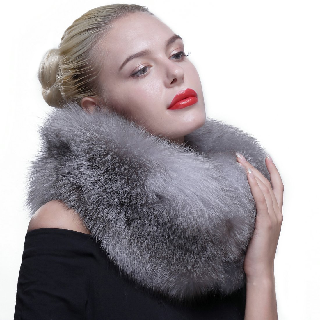 URSFUR Women's Knitted Authentic Silver Fox Fur Cowl Scarf by URSFUR (Image #2)