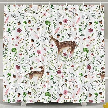 . Amazon com  YeeATZ Shower Curtain Deer Bathroom Decor Set with Hooks