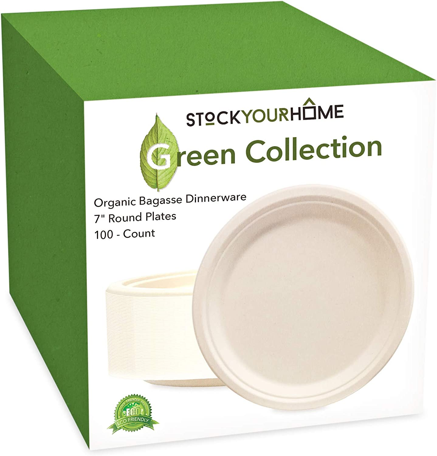 Stock Your Home 7 Inch Round Plates 100 Count Organic Bagasse Plates Made of Natural Sugarcane Fibers - Eco Friendly, Heavy Duty Disposable Plates for Parties, Catering and Everyday Use