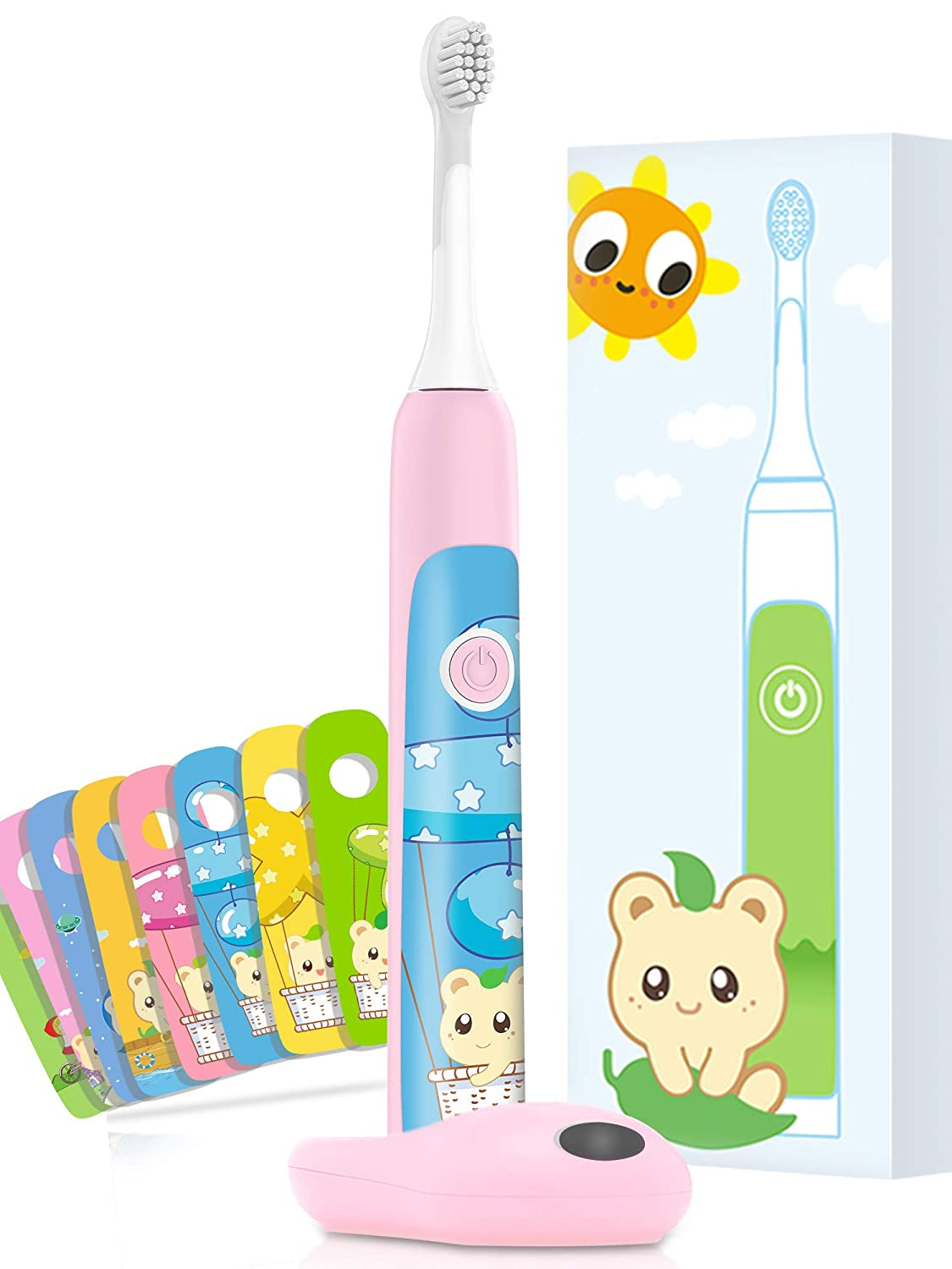 Aiwejay Kids SONIC Electric Toothbrush Rechargeble For ages 3-12,8 Cute Stickers, 3 Vibration Modes,Pink