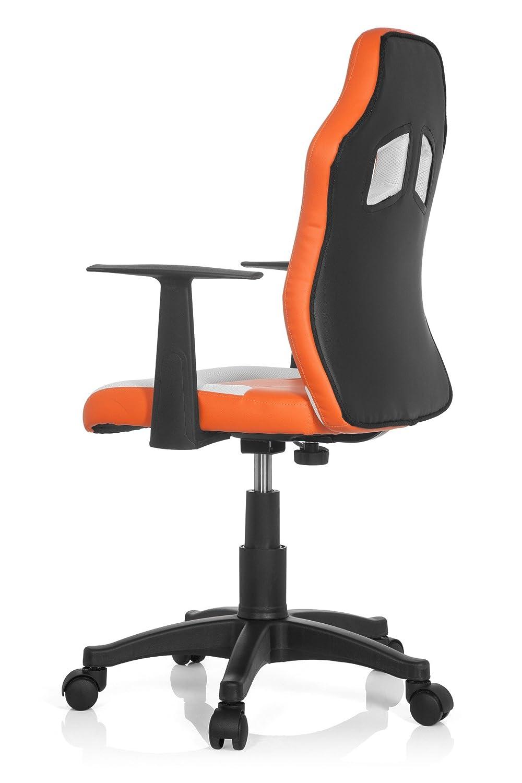 hjh OFFICE Teen Racer Al Silla Infantil, Piel_sintética, Multicolor (Naranja/Blanco), 41x51x103 cm
