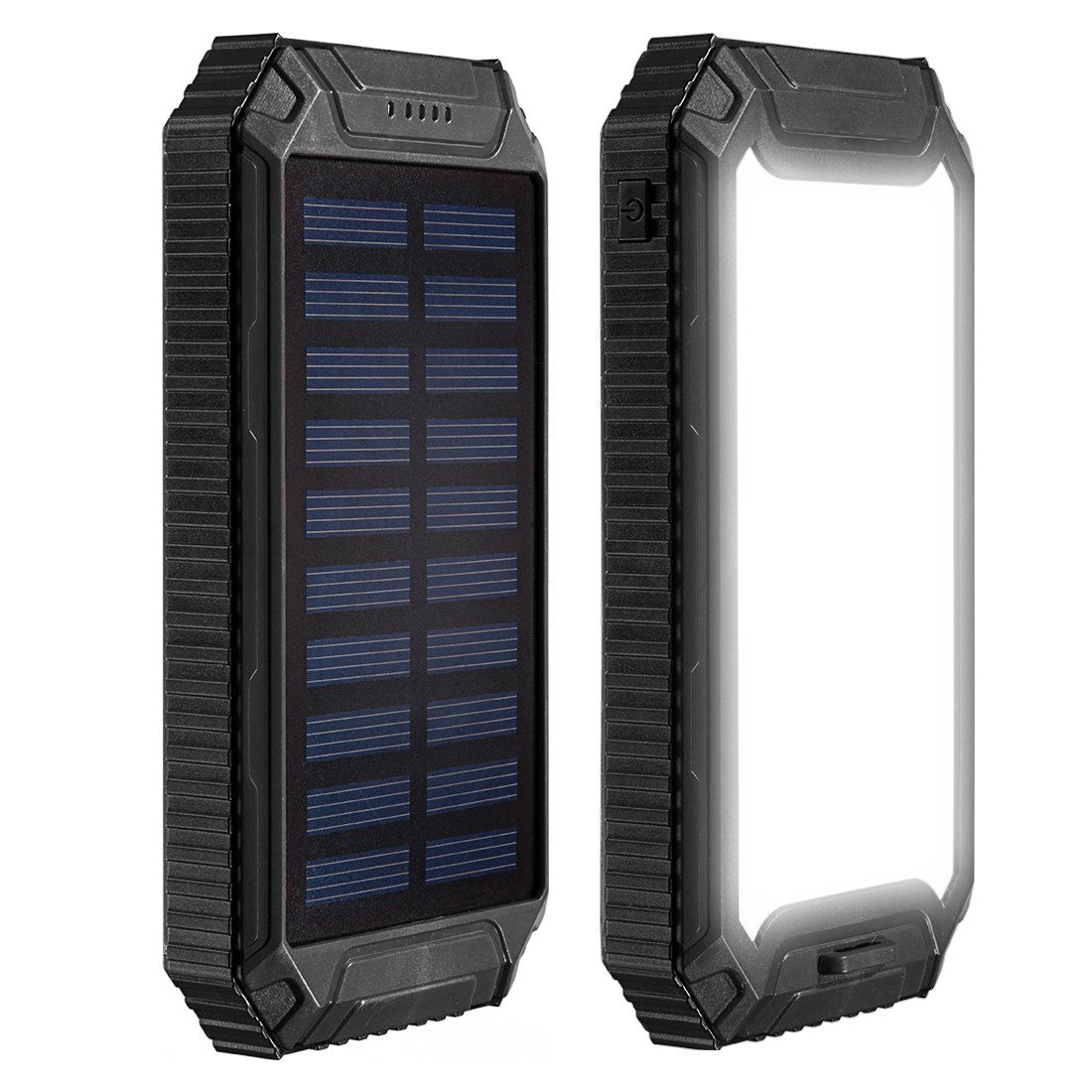 uxcell 12000mAh Solar Power Charger Waterproof Portable Backup External Battery Pack with 2 USB Port + Flashlight + Carabineer + Compass for Cellphone,Camera at Emergency Outdoors Black
