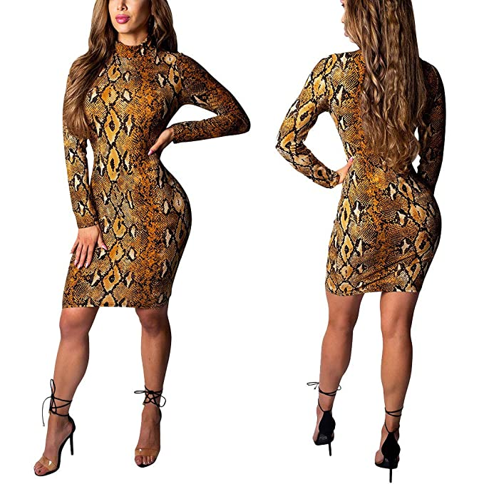 8a3d1bb510d Amazon.com  Bodycon Dress Long Sleeve - Sexy Stretch Floral African Print Midi  Dresses for Party Club Casual  Clothing