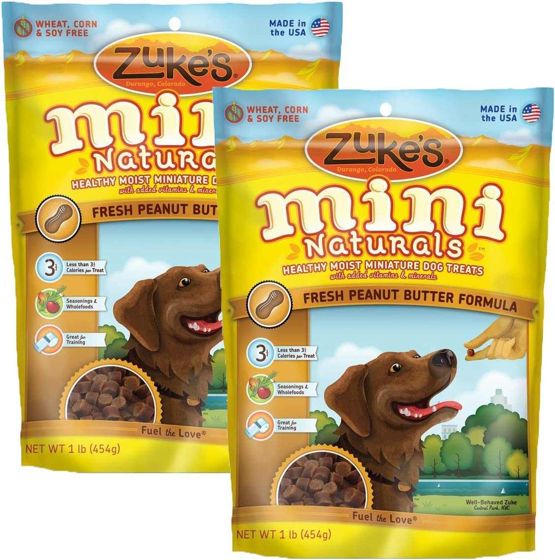 Zuke s Mini Naturals Savory Salmon Recipe Dog Treats Peanut Butter, 16 oz. Pouch – 2 Pack
