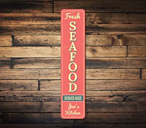 Fresh Seafood Vertical Sign, Custom Served Here Kitchen Name Sign, Ocean Lover Gift, Metal Beach House Decor - Quality Aluminum Seafood Sign