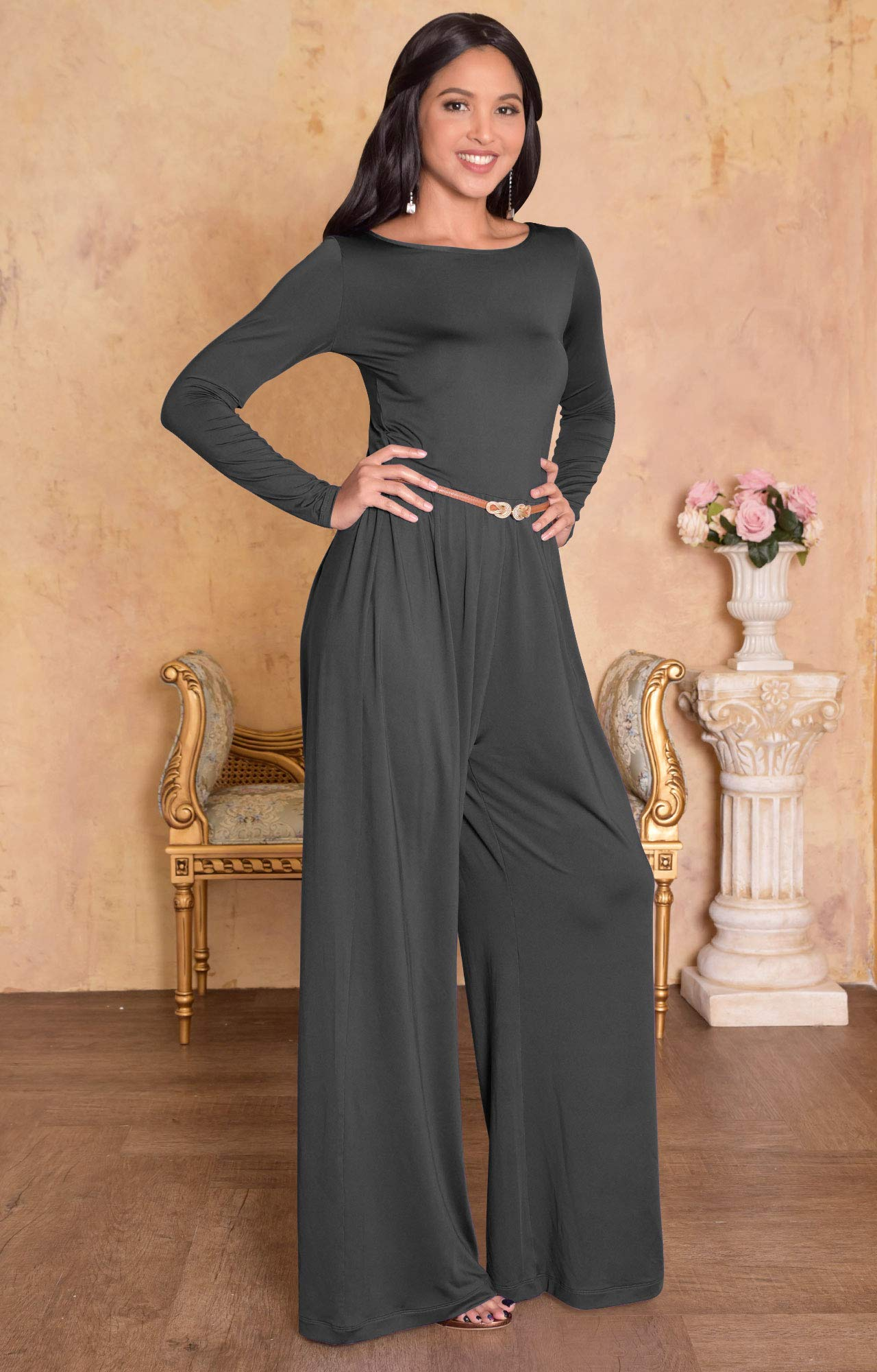 6ac1032d9c1f8 KOH KOH Womens Long Sleeve Wide Leg Belted Formal Elegant Cocktail Jumpsuit  < Jumpsuits, Rompers & Overalls < Clothing, Shoes & Jewelry - tibs