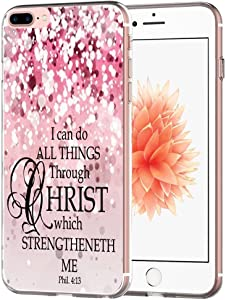 Case for 7 Plus Bible Verse Protective - Topgraph [Exact Slim Fit Clear with Design Full Coverage] Bumper Compatible for iPhone 8/7 Plus [Christian Jesus Clear Soft TPU]