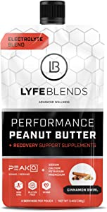 LYFE BLENDS Performance Peanut Butter, Cinnamon Swirl flavor; Sourced from Organic Foods, Non GMO, Gluten Free, Vegan w/ Electrolytes Sodium, Calcium, Potassium and Magnesium, (Recovery Blend, 3.4 oz)