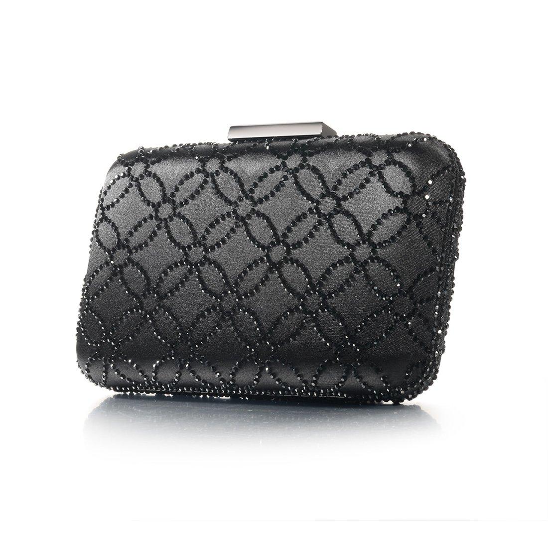 DMIX Kvinnor stor satin silke hård kuvertväska kristall aftonväska och handväskor Svart