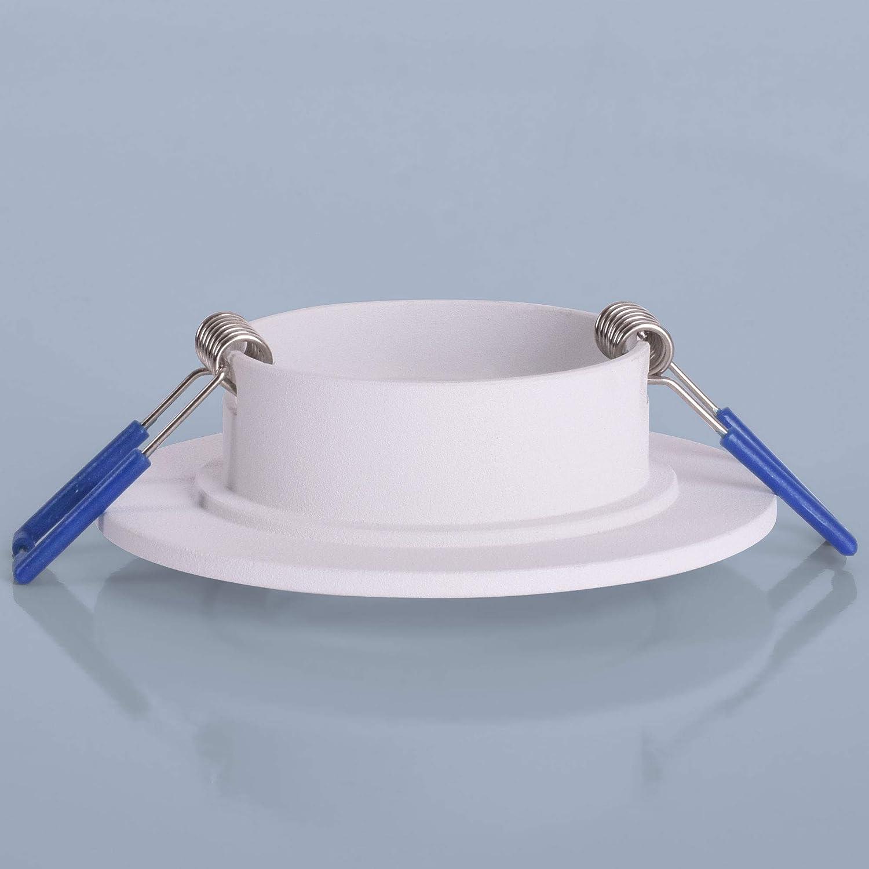 5W Leuchtmittel neutralwei/ß Einbauspot Einbauleuchte Rahmen Rostfrei Deckenspot Strahler Spot 6x Einbaustrahler Bad IP44 mit GU10 Fassung RUND wei/ß