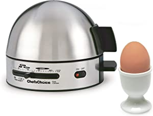 Chef'sChoice 810 Gourmet Egg Cooker with 7 Egg Capacity Makes Soft Medium Hard Boiled and Poached Eggs Features Electronic Timer Audible Ready Signal Nonstick Stainless Steel Design, 7-Eggs, Silver