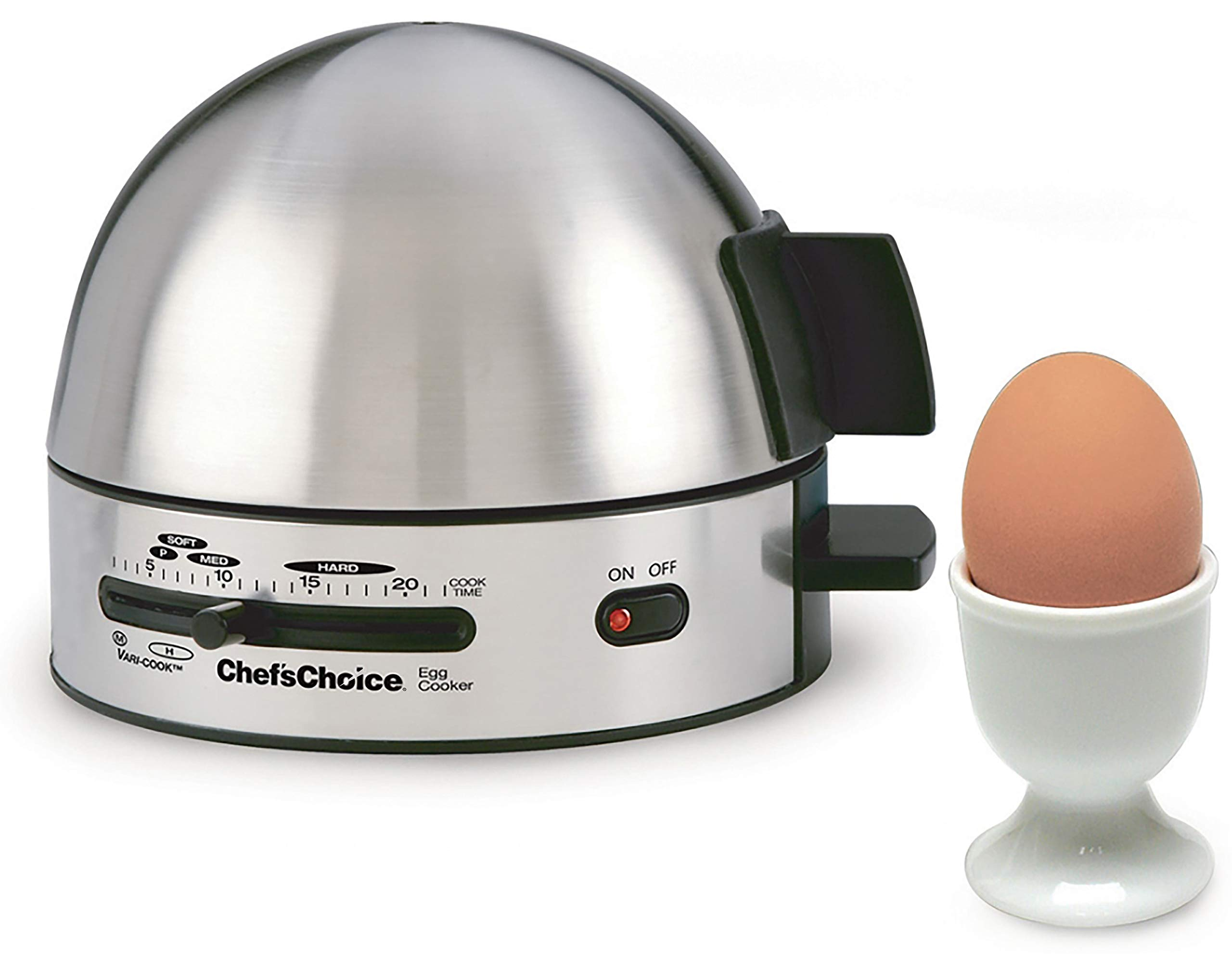 Chef'sChoice 810 Gourmet Egg Cooker with 7 Egg Capacity Makes Soft Medium Hard Boiled and Poached Eggs Features Electronic Timer Audible Ready Signal Nonstick Stainless Steel Design, 7-Eggs, Silver by Chef'sChoice