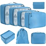 BAGAIL 8 Set Packing Cubes, Lightweight Travel Luggage Organizers with Shoe Bag, Toiletry Bag & Laundry Bag Blue