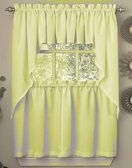 Ribcord Solid Color Kitchen Curtain Valance 54W x 12L, Yellow