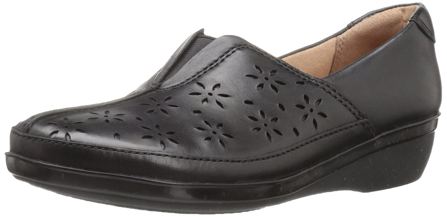 Black Leather Clarks Women's Everlay Dairyn Loafer Flats