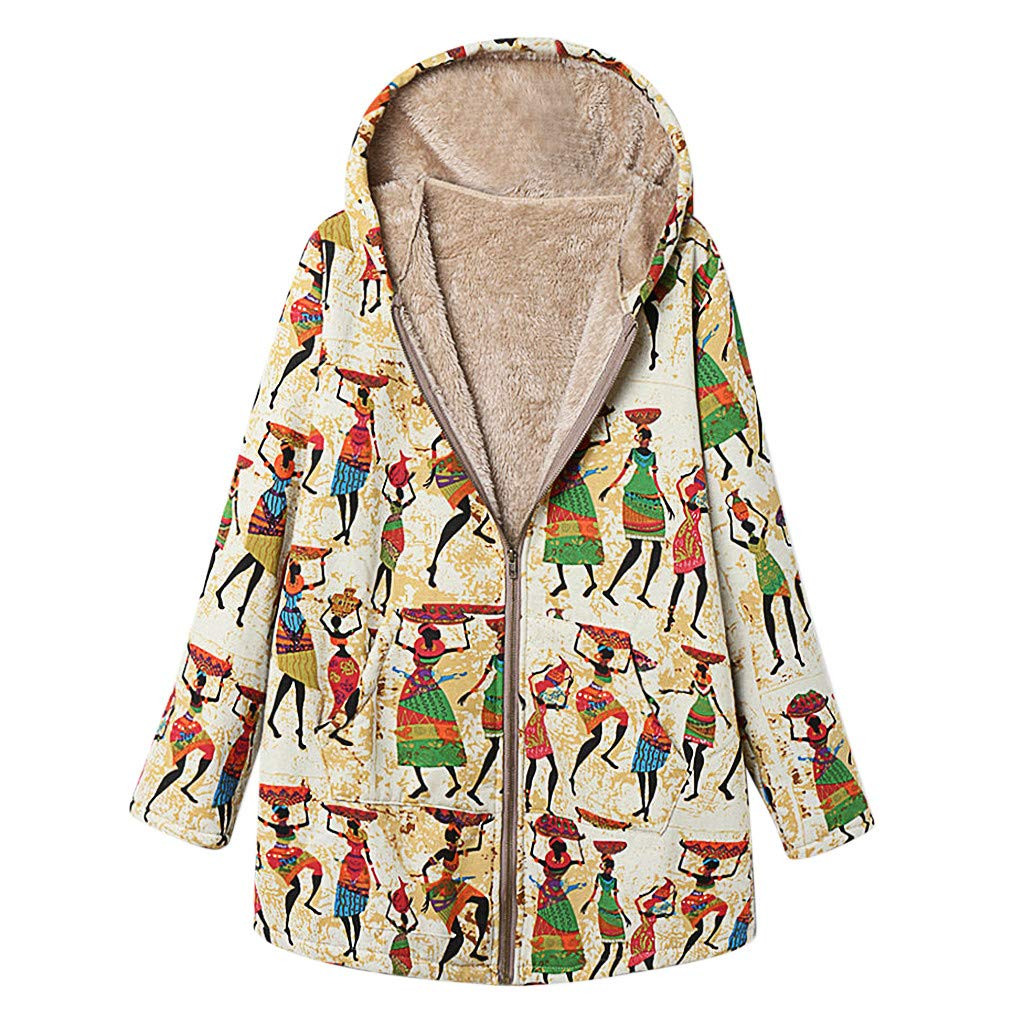 Willow S Women's Vintage Print Plus Velvet Hooded Long Coat Plus Size Casual Loose Zipper Pocket Soft Warm Jacket Coat Khaki by Willow S