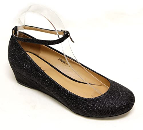 ff6922d149b Gemini Sugar-68 Women s low wedge lamy or gilt material ankle strap round  toe shoes