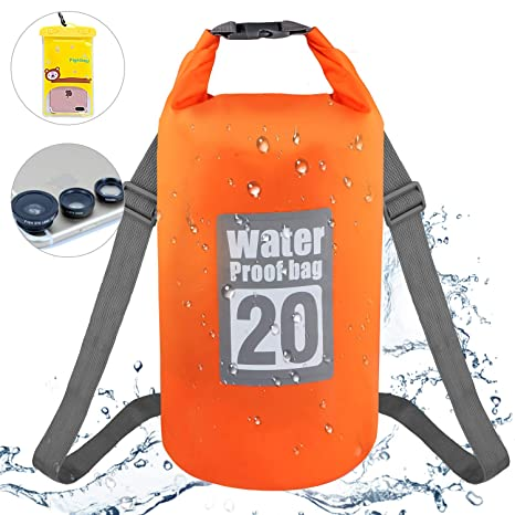 GolWof Bolsa Estanca 20L Bolsa Impermeable con Bolsa de Playa con Correa Ajustable Bolsa de Teléfono y Bolsa Seca para Rafting Camping Pesca