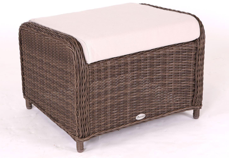 Destiny Lounge Hocker Casa Braun Luna Palma Fußhocker Polyrattan Beinauflage