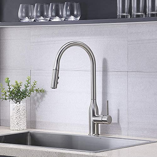 Casilvon Modern Single Handle Brushed Nickel Pull Out Sprayer Kitchen Faucet,Stainless Steel High Arc Kitchen sink Faucet WYJS003L