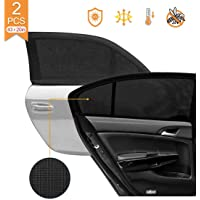 2 Pack Car Side Rear Window Sun Shades, Breathable Mesh Protects Kids from Sun Glare Burn Heats and UV Rays, Fits Most…