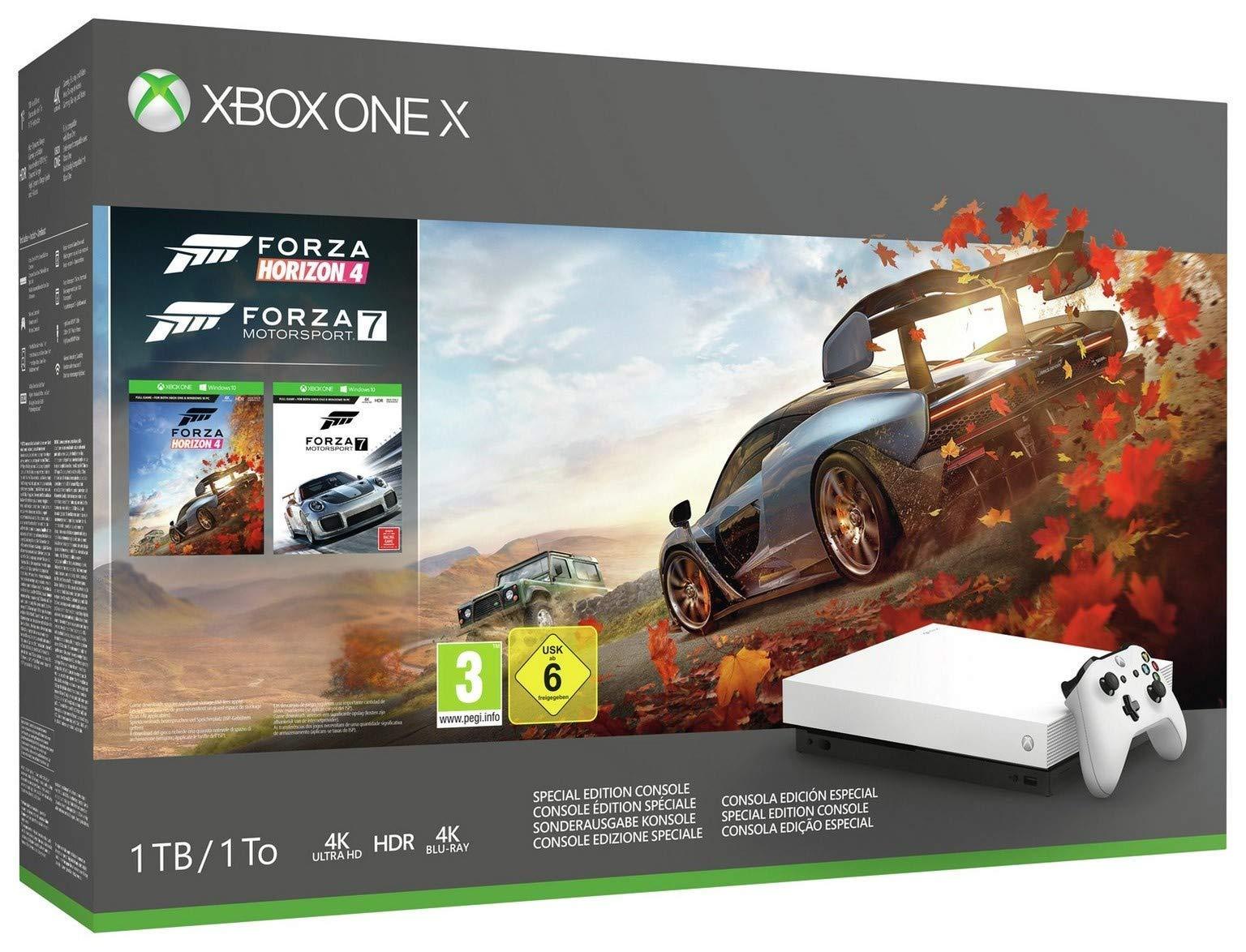 Microsoft Limited Edition White Xbox One X 1TB Forza Horizon 4 and Motorsport 7 Bundle (Renewed)