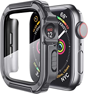 Mesime Rugged Case Cover Compatible for Apple Watch 42mm with Tempered Glass Screen for iwatch Series 3 2 1 Protective Bumper Accessories Hard Case for Women Men -Gray