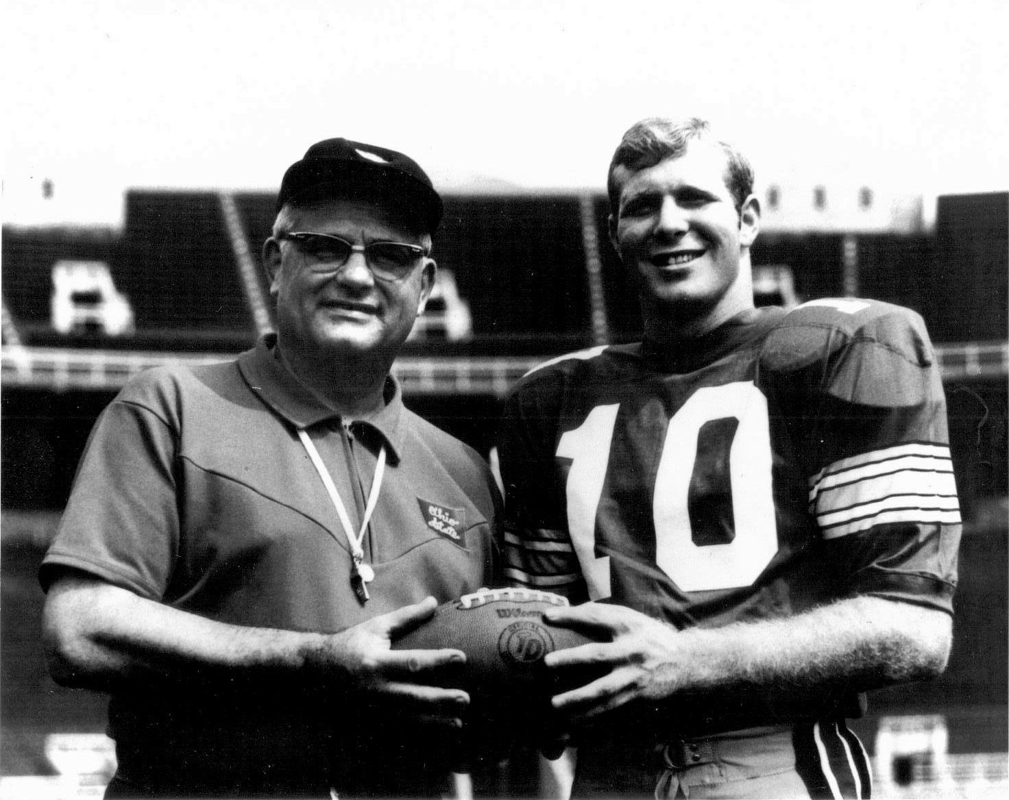 Woody Hayes and Rex Kern Vintage 1968 Ohio State 8x10 Photo - Mint Condition