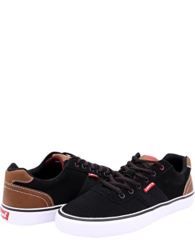 Levis Mens Miles Preference PU NB Sneakers       Black Burgundy