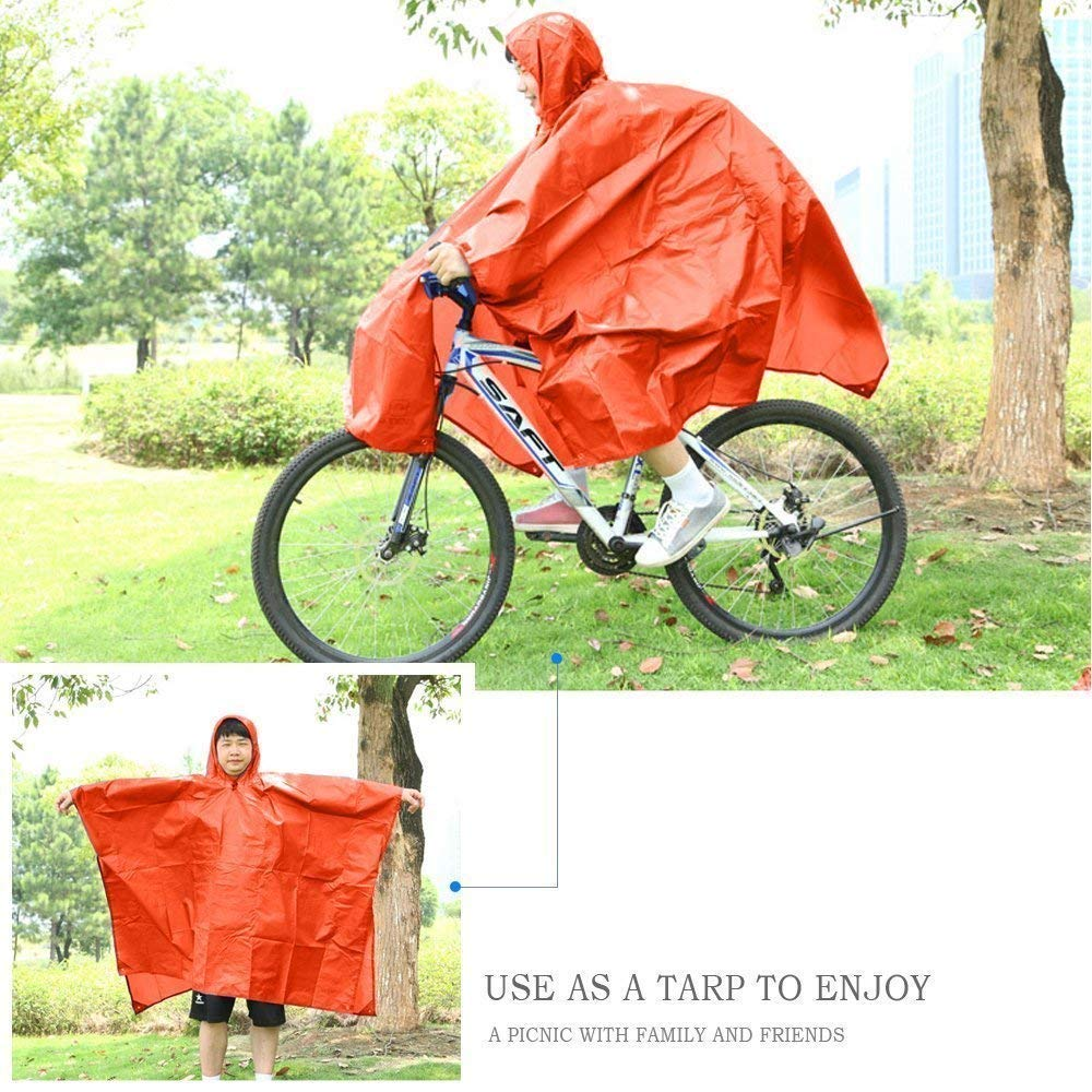 with Hoods Multi-Functional Unisex for Adults Bicycle Motorcycle Ride Hunting Blue Camping Rain Poncho Raincoat Backpack Rain Cover Jacket Lightweight Fishing Hiking Climbing.