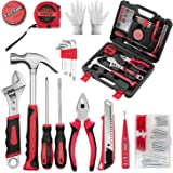 VIRENZZO 68 Pieces Portable Repair Tool Set General Household Tool Kit with Storage Case (Black Red)
