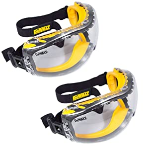 DEWALT DPG82-11 Concealer Clear Anti-Fog Dual Mold Safety Goggle (Pack of 2)