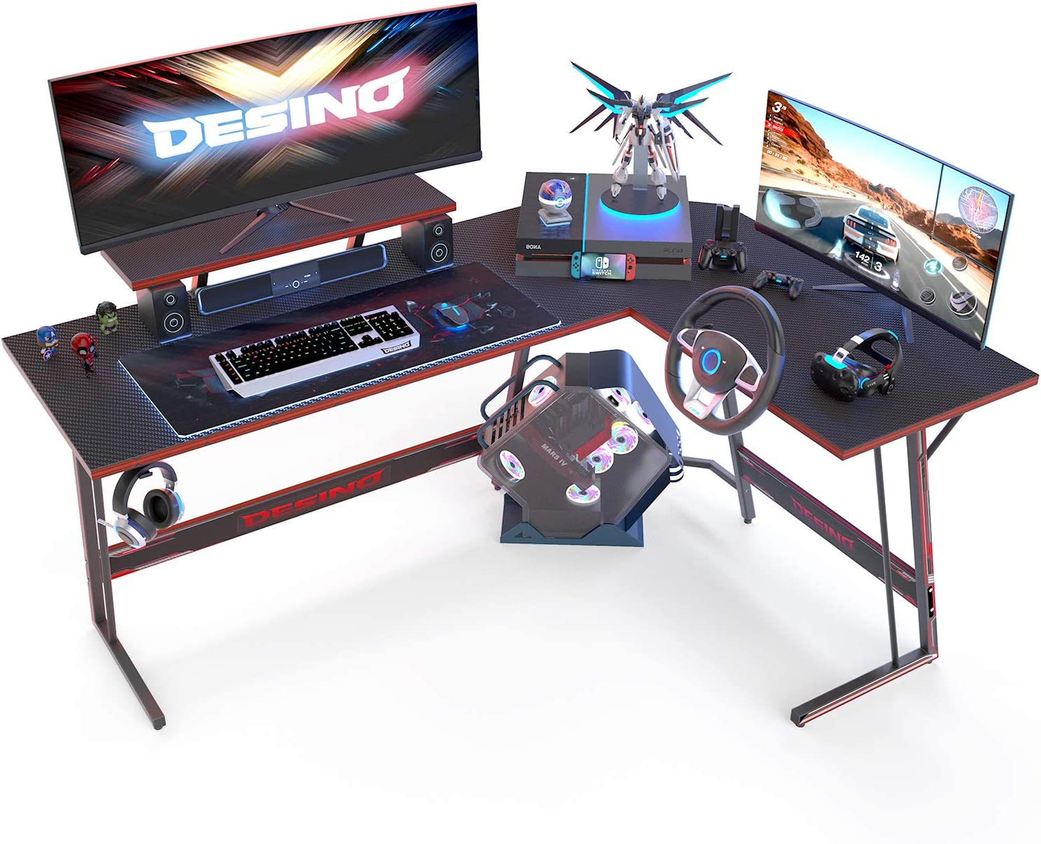 Amazon Com Desino L Shaped Gaming Desk Computer Corner Desk Pc Writing Table Gamer Workstation For Home Office Black Kitchen Dining