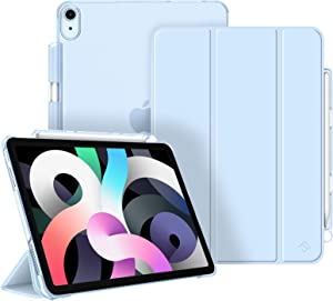 Fintie Case for iPad Air 4 10.9 Inch 2020 with Pencil Holder - SlimShell Lightweight Stand Case with Translucent Frosted Back Cover, Auto Wake/Sleep for iPad Air 4th Generation, Sky Blue