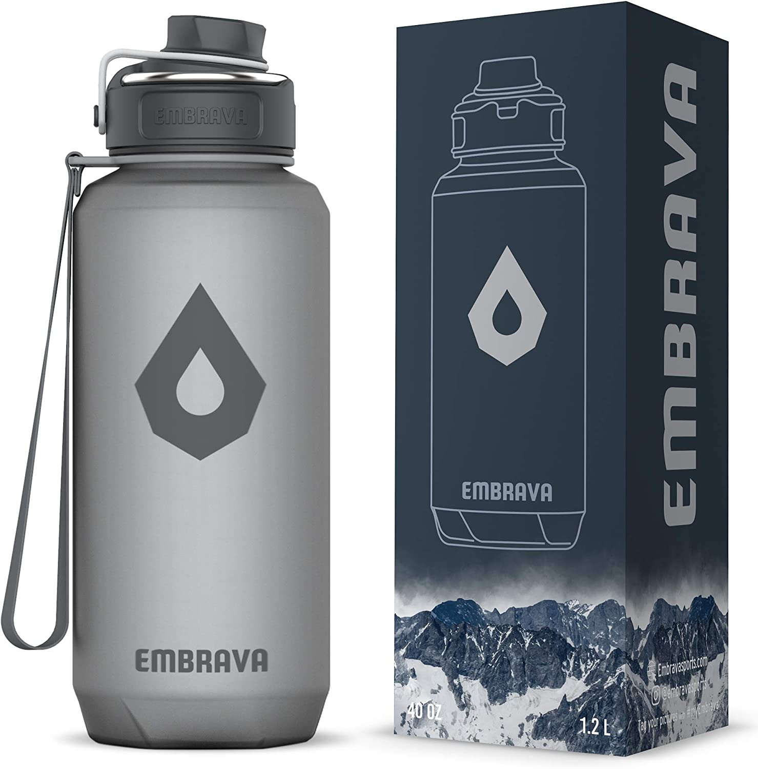 Embrava 40oz Water Bottle - Large with Travel Carry Ring - Wide Leak Proof Drink Spout | Heavy-Duty, BPA & BPS Free Tritan Plastic | Sports, Camping, Gym, Fitness, Outdoor