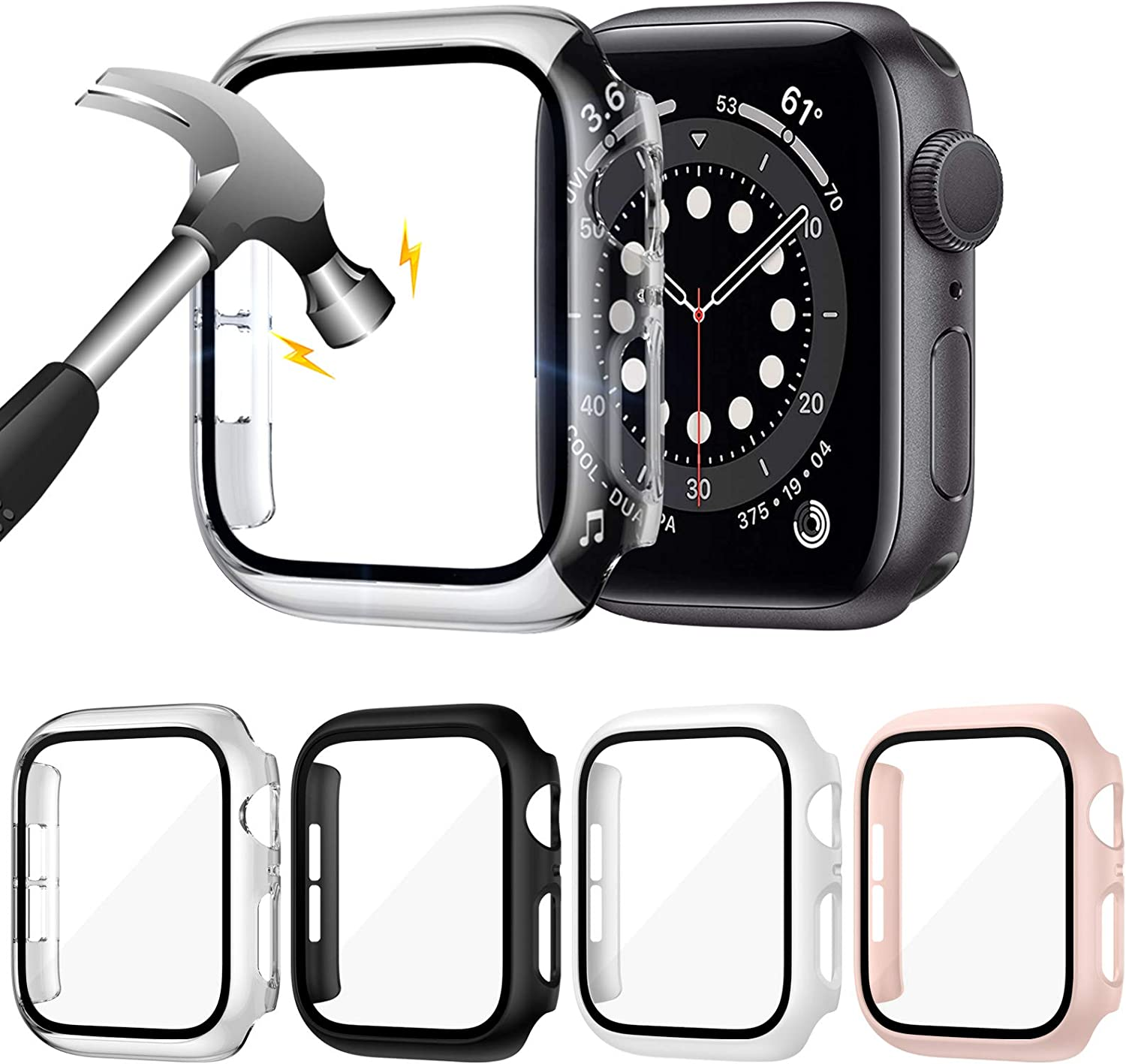 ZEBRE 4-Pack Hard PC Case with Tempered Glass Screen Protector Compatible with Apple Watch Series 6 SE Series 5 Series 4 40mm
