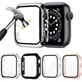 ZEBRE 4-Pack Hard PC Case with Tempered Glass Screen Protector Compatible with Apple Watch Series 6 SE Series 5 Series 4 44mm