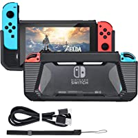 Tendak Slim Rubberized Hard Protective Grip Shell Case Cover with USB Type C Charging Cable for Nintendo Switch (Black)
