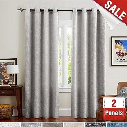Amazon.com: jinchan Grey Linen Cotton Curtains for Living Room ...