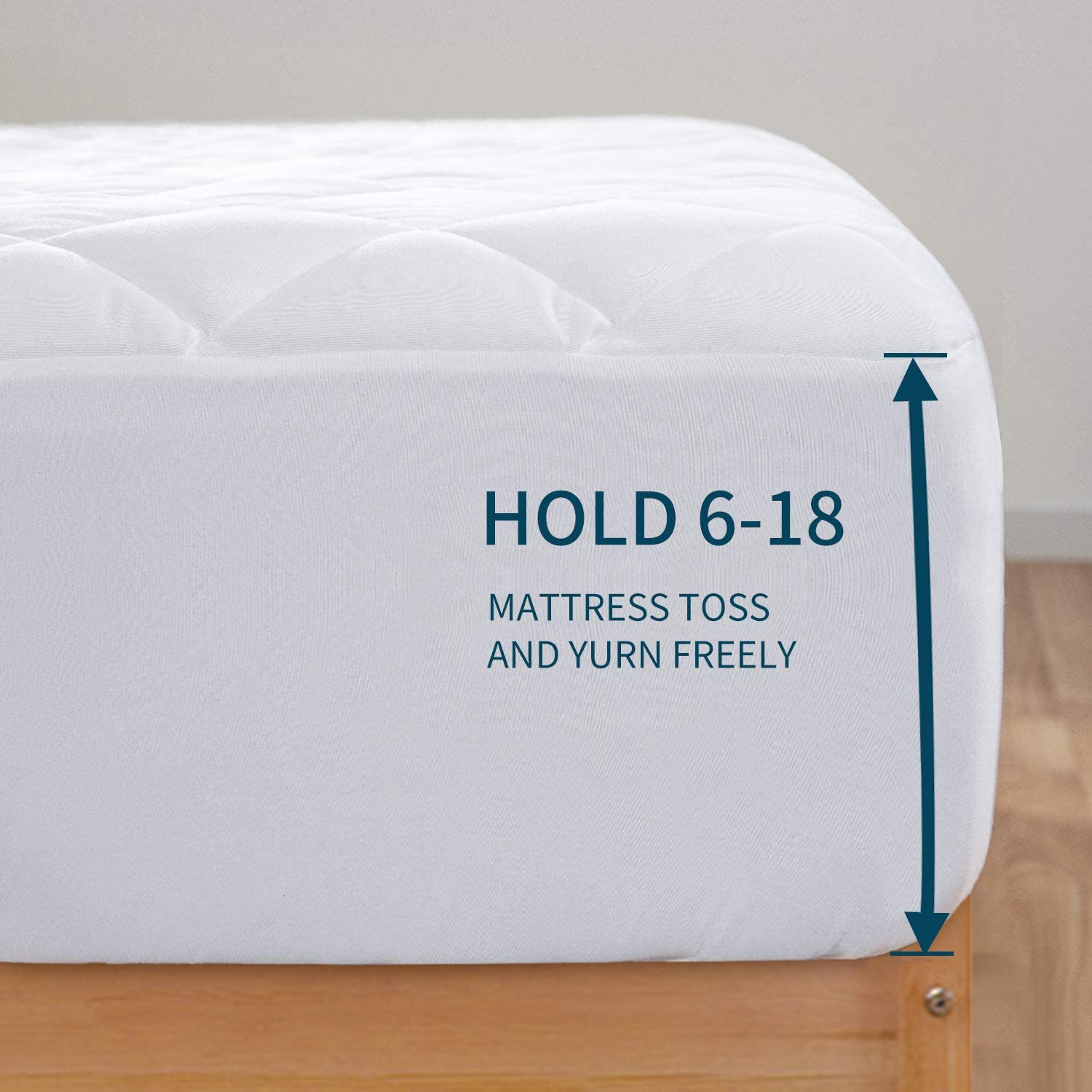 HOMBYS Waterproof Queen Mattress Pad Breathable Quilted Fitted Sheet Mattress Protector Cover Queen