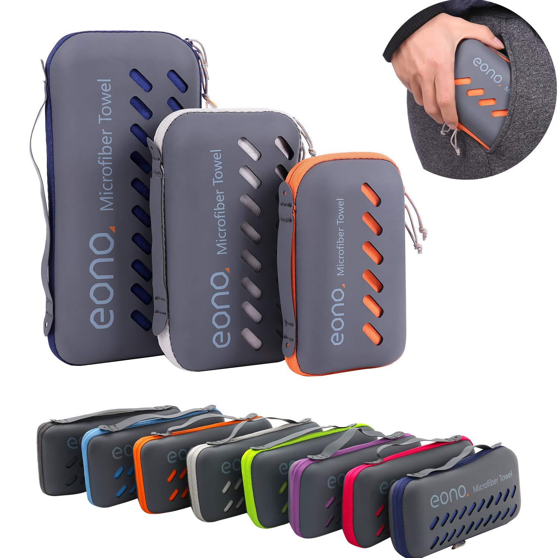Eono Essentials Toalla de microfibra para llevar al gimnasio, a la playa, de camping, de viaje, de natacion, o de vacaciones. Secado rápido, Superabsorbente ...